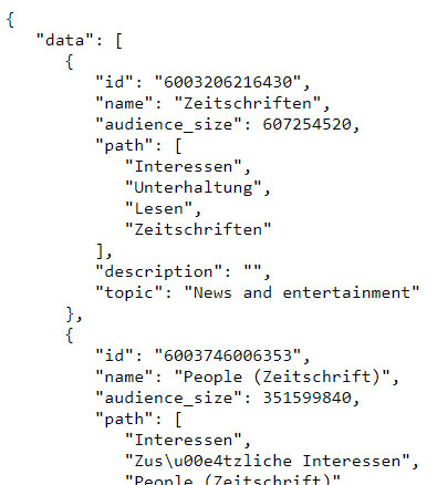 facebook marketing api response