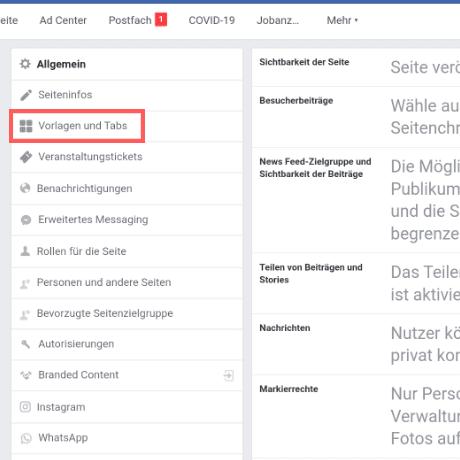 facebook shop tab